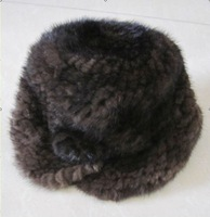BG20200 Brown Genuine Knitted Mink Fur Cap With Flower Winter Fashionable Hat