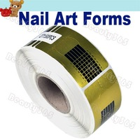 500Pcs/Roll Golden Nail Art Forms Guide Acrylic UV Gel Tip Extension Tool Free Shipping 2084