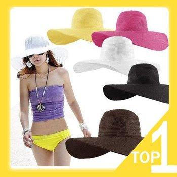 Fashion Jewelry Hollywood sexy lovely wide wire brim Summer / Beach / Sun / Straw / Floppy hat Y3079