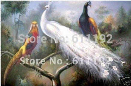 Pintura a óleo da alta qualidade: o transporte livre do pavão e do pássaro 100% dos animais selvagens