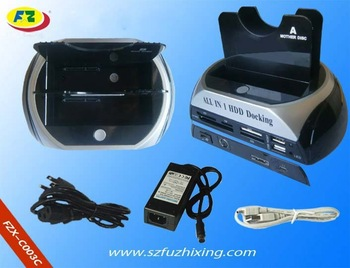 free shipping 2 SATA HDD hard drive to USB eSATA Dock Docking Station