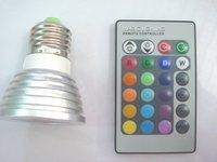 Free Shipping 3W Remote Control RGB E27 LED Light Bulb 16 Multicolor Spotlight Decorative Lamp