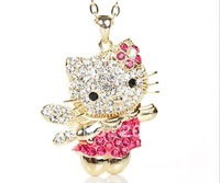Promotion crystal angel hello kitty necklace pendent 2 colors