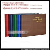 192 openings-Hard cover Mixed sizes World coin stock collection coin holders protection album 1pcs/lot
