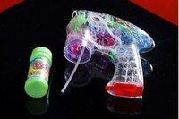 free shipping,Transparent bubble gun voice glowing Children's toys