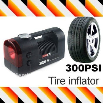 Portable car electric air pump 12v car tire/tyre pump Auto air compressor with LED Torchlight