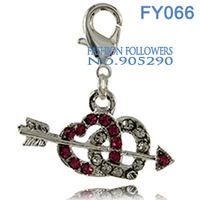 Free Shipping Fashion Lucky Charms For Bracelets & Necklace Alloy Double-Heart Shaped Charms With Lobster Clasp FY066