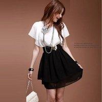 Huge Savings Free shipping 2012 Summer Fashion Korean short sleeve dress Chiffon Dress Lady's casual dress White and Black 0985#