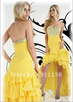 2012 Yellow Strapless Sweetheart Party Gown Sequin Chiffon Beading Ruched Evening beadwork Bridesmaid Prom Dresses 30256