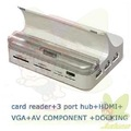 High Quality Docking with card reader+hub+HDMI+VGA out for new Ipad/Ipad 2/Iphone 4G/4GS