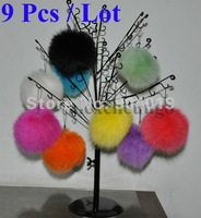 9 Pcs Genuine Cute Fox Fur Ball Charm KeyChain Cell Phone Bag Charm Keychain