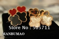 Free shipping~225 Fashion Earrings,  Clover luckyearrings,Alloy Earrings, cute mini Earrings,best gift!