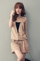 Free shipping! 2012 Fashion waist stretchy solid chiffon vest jumpsuits X15782471806