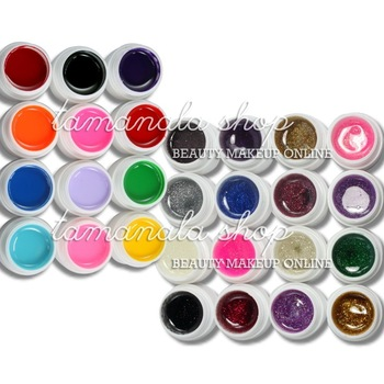 28 Pcs Mix 12 Pure 16 Glitter Color UV Builder Gel Nail Art False Tips Salon Set, No.HB-UVGel04-28Cset