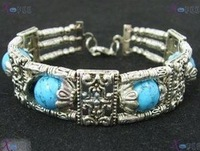 3R Tibetan Silver Fashion Jewelry Engraved Turquoise China Minority Bracelet