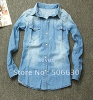 Free Freight Hottest  newest style dark blue Full sheet  turn-down collar women jean shirt