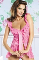 LOWEST price Free shipping Sexy lingerie lace nightwear ladies sleepwear robe bathrobe black white pink YH6331