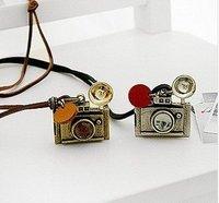 Retro fashion exquisite camera glass ball necklace
