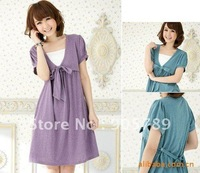 Free Shipping 2 Colors Mummy Cotton Dress Maternity Bow Dress Breastfeeding Clothing