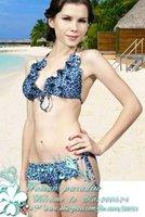 Plus size Swimwear,Beachwear,women mini Bikini,printed floral ruffles halter high grade bikini,blue&Free shipping