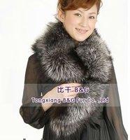BGLT8308 Classic Style For Women Genuine Silver Fox Fur Scarf Collar Winter Ladies Warm Scarf Hot Sale Warm in Winter Accessory