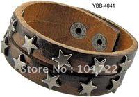 Mens Jewelry Real leather quality cheap price leather bracelet star rivet bracelet