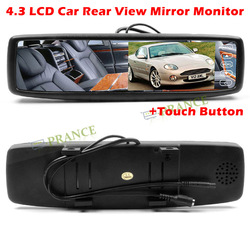 4.3 inch TFT LEDCar Vehicle Rearview Mirror Monitor Parking Sensor System with bluetooth+touch button free shipping(China (Mainland))