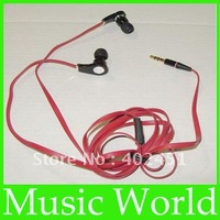 Free Shipping  wholesales black in ear headphone no mic soft box straight plug