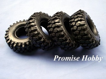 Rubber crawler tire tyre with foam insert set (4pcs) for 1.9 wheel 1/10 rc rock crawler car buddies