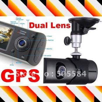 Dual lens/Camera Car driving recorder with GPS G-Sensor X3000 car camera dvr , Free shipping