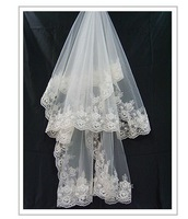 One-tier Cathedral Wedding Bridal Veils With Lace Applique Edge Free Shipping Wholesale