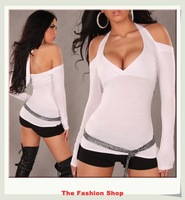 FREE SHIPPING 2014 New Sexy Clubwear Top Sexy Ladies's T-shirt Free size NA25052-5 White