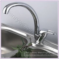 Retail - Luxury Brass Kitchen Faucet, Deck Mounted Kitchen Mixer, Chrome Finish Kitchen Tap, Free Shipping