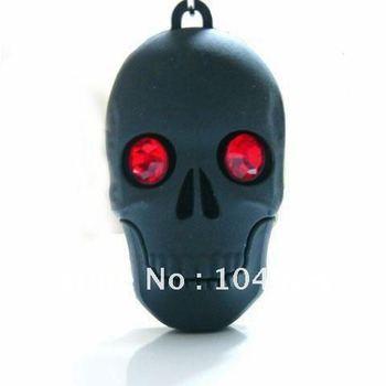 Free ship 4GB 8GB 16GB 32GB rubber fashion black skull head red eye scare USB flash memory drive Pen U disk