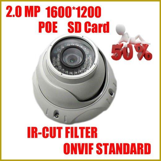 camera ip, 2MP HD Camera, 1600*1200 High difinition resolution, IR dome Moduel, email alarm, Onvif standard, cctv camera(China (Mainland))