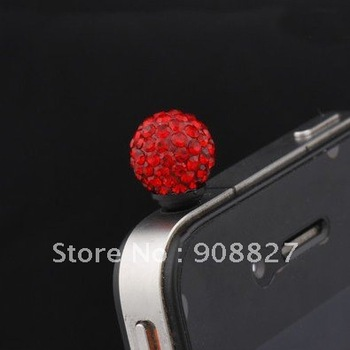 NEW ARRIVAL,10mm Red Diamond Crystal Anti Dust Ear Plug Cap fo Cellphones, 3.5mm Earphone Jack Plugy for Smart Phone