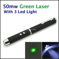 50mW Green Laser Pointer + LED Torch Light (Black) Free shipping SI196