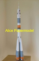 [Alice papermodel]Long 1.7 meter Russia Soyuz rocket spaceship jet fighter aircraft plane models