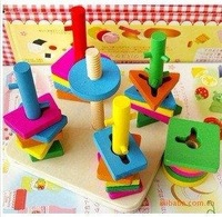Wooden toys five column suit brain and small blocks exercises that YX132 colors and shapes