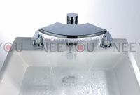 Free Shipping Big mouth 3pcs Waterfall Faucet  Bathtub Sink Mixer Tap (Widespread) 02749 [Factory supplier]