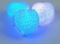 Best selling! EMS Free shipping! 100 pcs/lot Romantic Rose  heart lights LED 7 Color ChangeLED night light. Retail&Wholesale