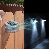 Outdoor Path Wall Solar Powered Energy Recharge LED Fence Cool White Light Lamp