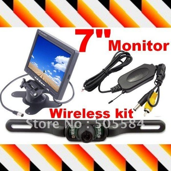 Wireless Car Rearview Camera 2.4G parking camera 7inch TFT Color LCD Screen monitor display Rear view kit