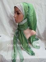 lz008Muslim black  long Shawel with inner Cap Silk shawel new design islamic scarves Accept