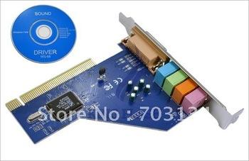 10pcs/lot wholesale PC 4 Channel MIDI GAME Port 3D Audio PCI Sound Card, Full duplex 64-bit PCI Bus Master