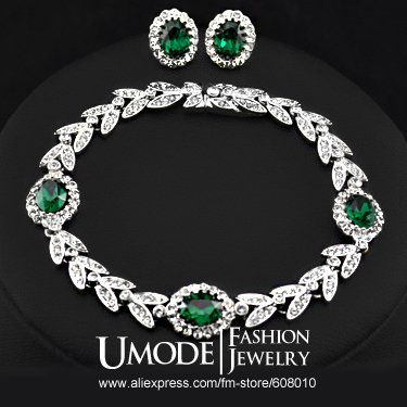 White Gold Plated Austrian Emerald Crystals Bracelet and Earrings Jewelry Set FREE SHIPPING!(Umode JS0011B)(China (Mainland))