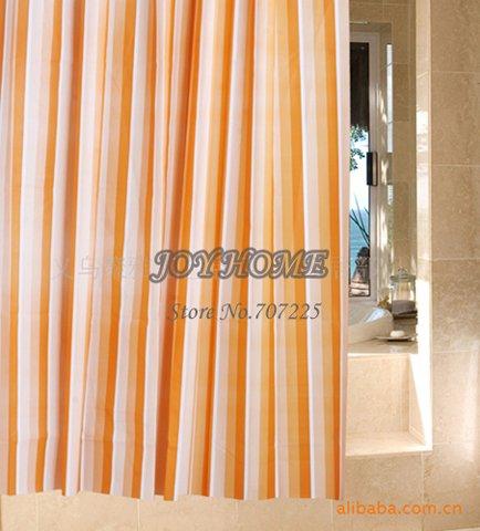Wholesale Retail Orange Stripe Bathroom Curtain High