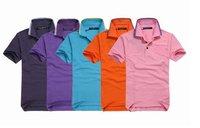 wholesale Free shipping Hot selling 100% COTTON NEW SHORT SLEEVE COLLAR shirt MEN'S T SHIRTS mix color,5pcs/lot size S M L XL