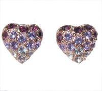 Min.order is $10 (mix order) amethyst purple heart 18k rose gold plated crystal stud earrings woman jewelry E40