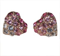 Min.order is $10 (mix order) free shipping colorful heart 18k rose gold plated crystal stud earrings christmas gift E39